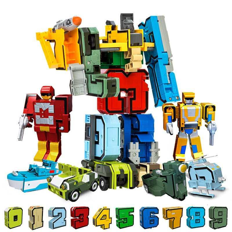 10Pcs Transformation Number Robot Deformation Figures City DIY Creative Building Blocks Sets Friends LegoINGs Creator Toys Gifts SH190916