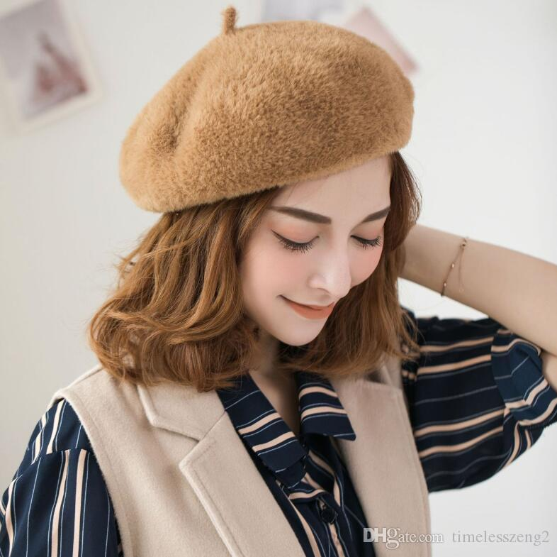1b767014c45 Womens Beret High Quality Mink Hair Beanie Japanese Artist Solid Cap ...