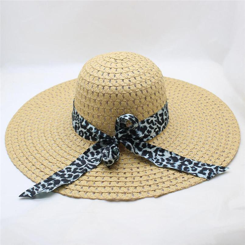 cb793f3590133 Women Leopard Print Big Brim Straw Hat Sun Floppy Wide Brim Hats Beach Cap  Hat Women Summer 2019  A Straw Cowboy Hats Sun Hats For Men From Jutie