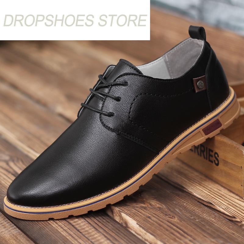 c53ccdcb7 Compre 2018 Novos Homens Sapatos Casuais Moda Baixa Lace Up Mens Sapatos De  Couro Respirável Sapatos Baixos Dos Homens Pretos Negócio Oxfords Para  Homens De ...