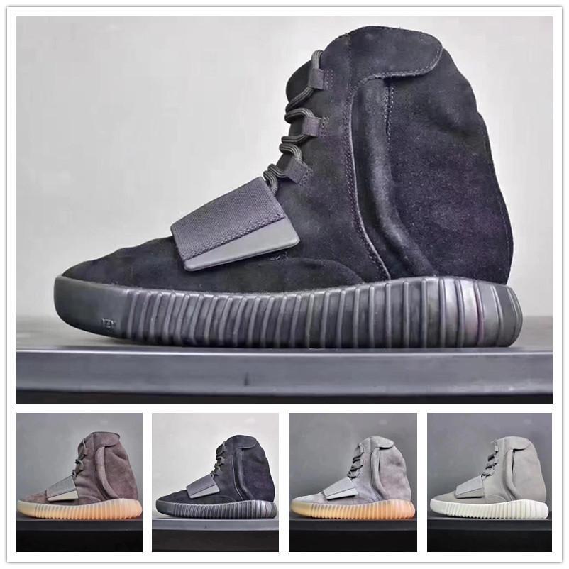 fc88bd1b Compre Venta Caliente 750 Zapatillas Gris Claro Marrón Triple Negro Gris  Kanye West Botas De Cuero Deportes De Las Mujeres Zapatos De Baloncesto  Deportivos ...