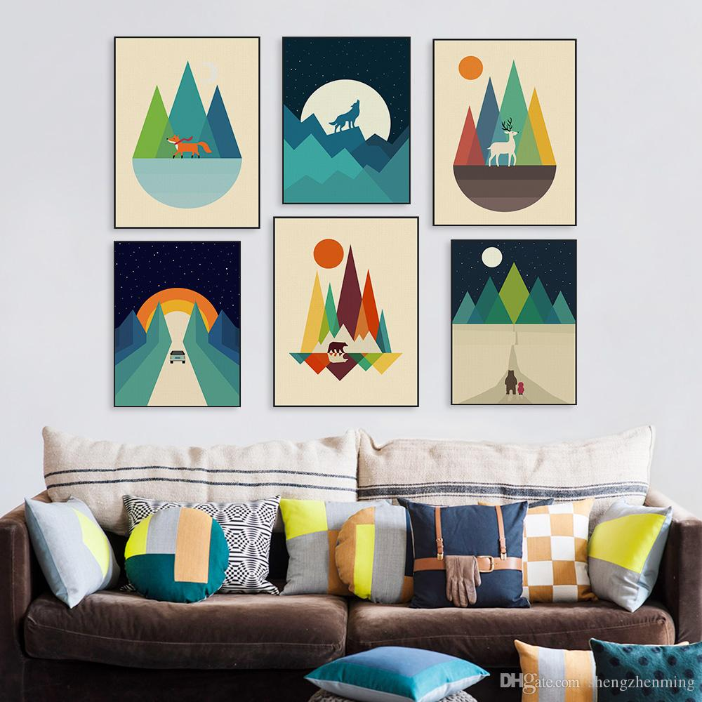 2019 modern abstract geometric mountain posters prints colorful pop nordic home decor landscape big wall art pictures canvas painting from shengzhenming