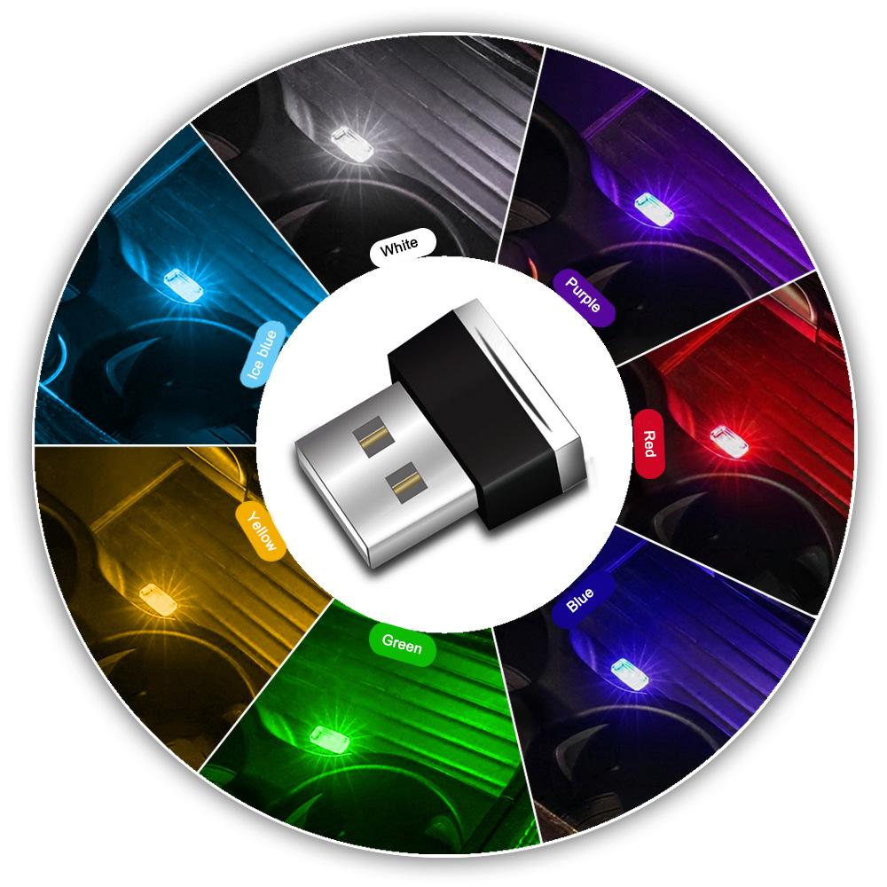 Mini USB Light LED Modeling Car Ambient Light Neon Interior Car Jewelry (7 kinds of colors)