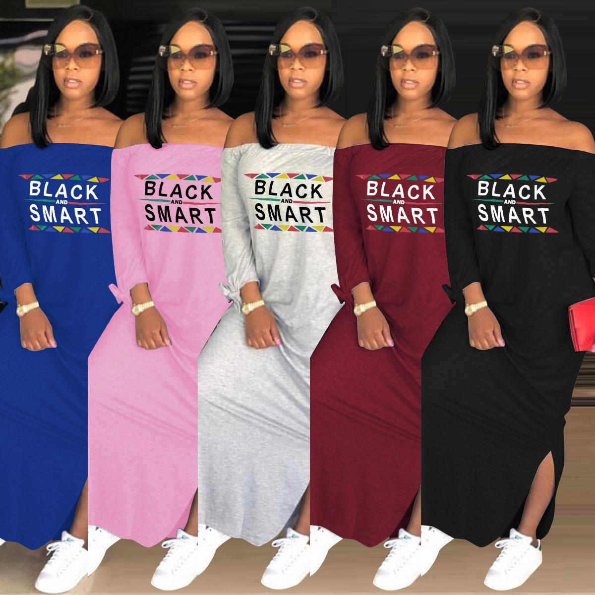 4216008ee3f4a Spring Autumn Women Designer Dresses Long Sleeve Black Smart Letters Print  Slash Neck Loose Off Shoulder Long Dress Sexy Split Skirt New