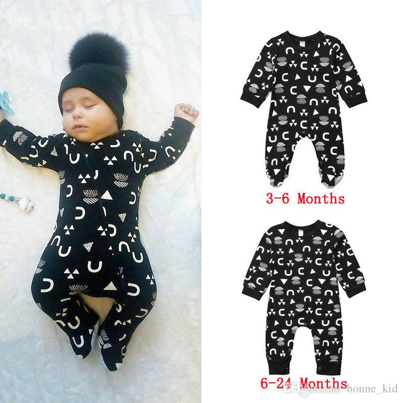 6228459e0841 2019 Infant Baby Boy Jumpsuit Footie Romper Black Geometric Long Sleeve  Pajamas Playsuit Newborn Baby Kid Clothing Rompers 0 24M From Bonne kid