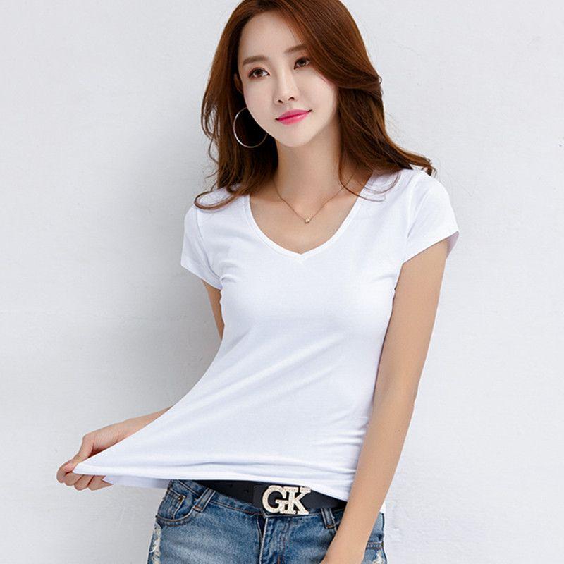 afa19c85b5a5 100% Cotton T Shirt Women White Tops 2019 Summer V Neck Casual T Shirt  Women'S Top Ladies Tshirts Tee Black Camisetas Feminina Cool Shirts Formal  Shirts ...