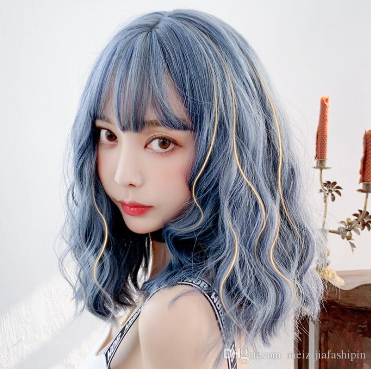 New simulation hair short hair net red natural full head realistic bubble head blue long curly hair