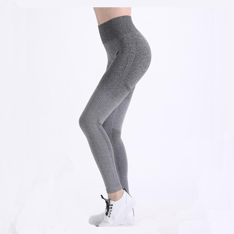 b42e374c139db 2019 High Waist Gym Leggings Knitted Yoga Pants Women Stretchy Fitness  Clothing Vital Seamless Push Up Gym Tights Running Sportwear From Youtuo,  ...