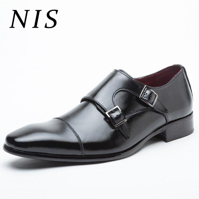 2148718b89ae NIS Plus Size 39 48 Men Dress Shoes Pointed Toe PU Leather Monk Strap  Business Shoes Double Buckle Decor Classic Wedding Flats Slippers For Men  Loafer Shoes ...