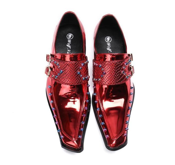 Shoes Men Luxury Designer High-quality Double Buckle Punk Rock Red Rivet Shoes Homecoming Male Wedding Prom Formal Dress Shoes