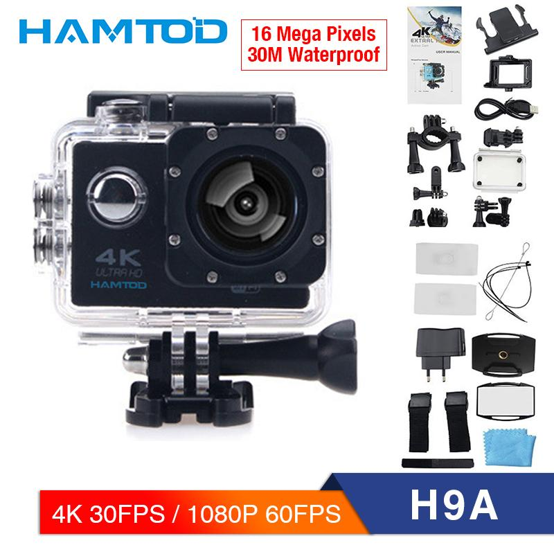 HAMTOD H9A 4K 30FPS WiFi Action Camera 2 0 inch LCD Screen 1080P 60FPS  Ultra HD Diving Waterproof mini Camcorder Sports Cameras
