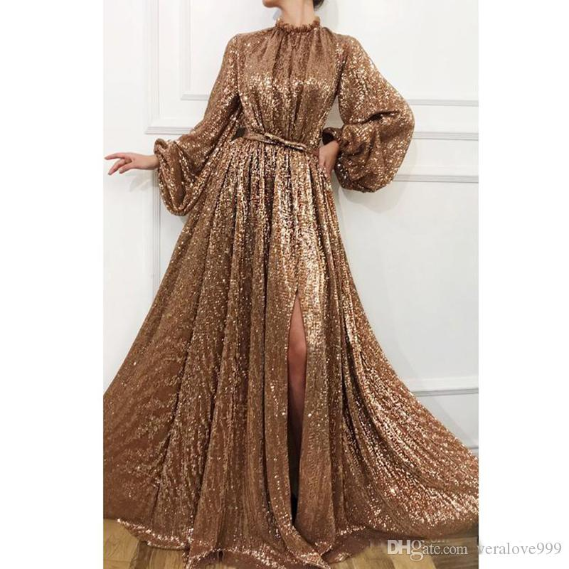 Sparkling Gold Sequins Evening Dresses High Neck Split Prom Dress Shiny Long Sleeves Floor Length Women Party Dresses