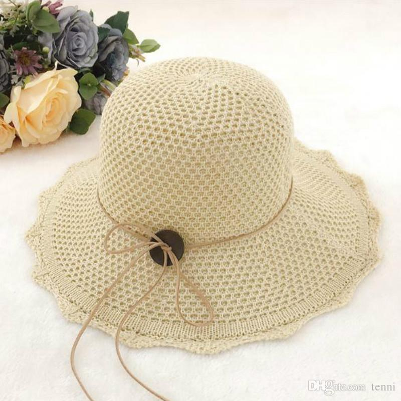 8ac1ae19e6d7 2018 Flowers Sunshade Caps Cute Sweet Summer Big Foldable Floppy Straw Hat  Women's Solid Color Wide Brim Beachwear Sun Hats