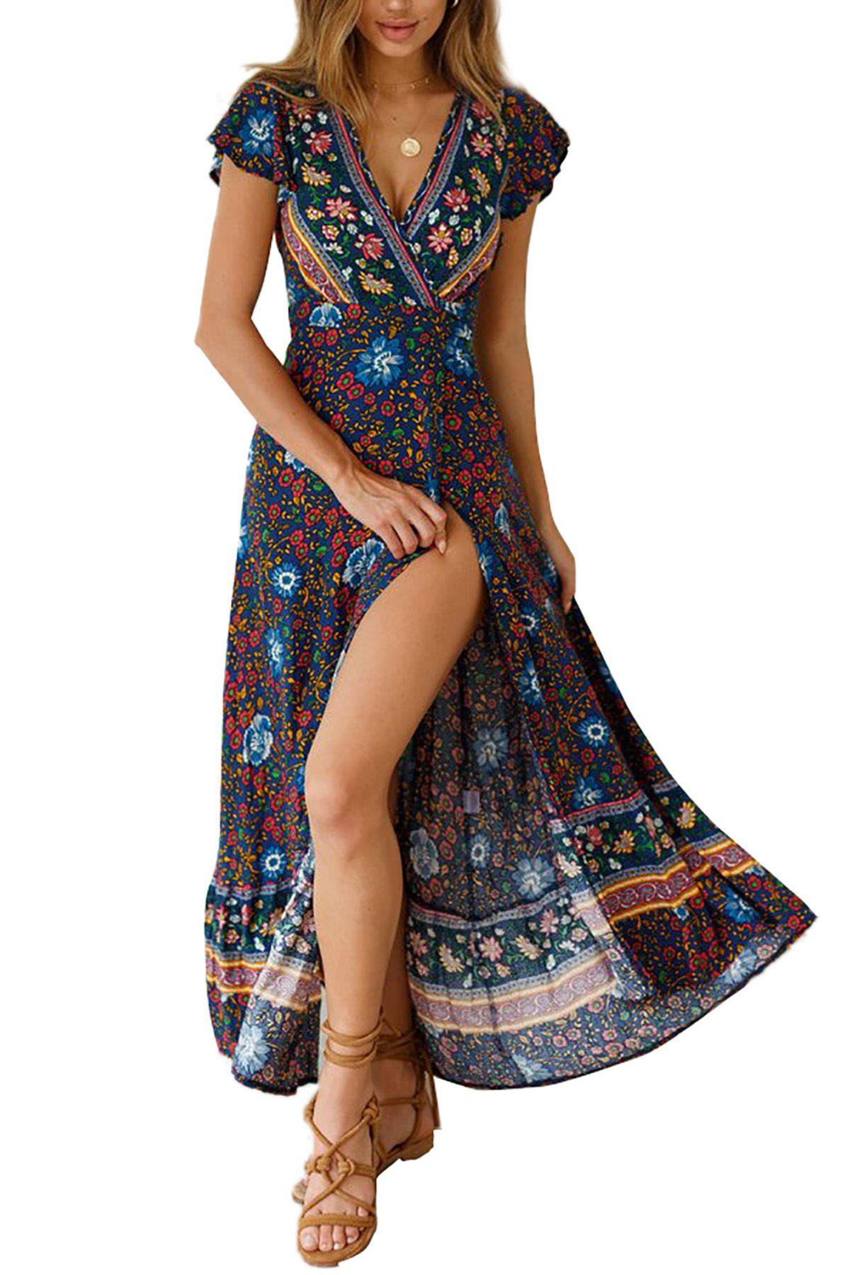 Kleid Urlaub Böhmisches Langes Kleider Floral Boho Sommer Strand V Bade Casual Bedrucktes Ausschnitt Für Frauen 5Rqj34AL