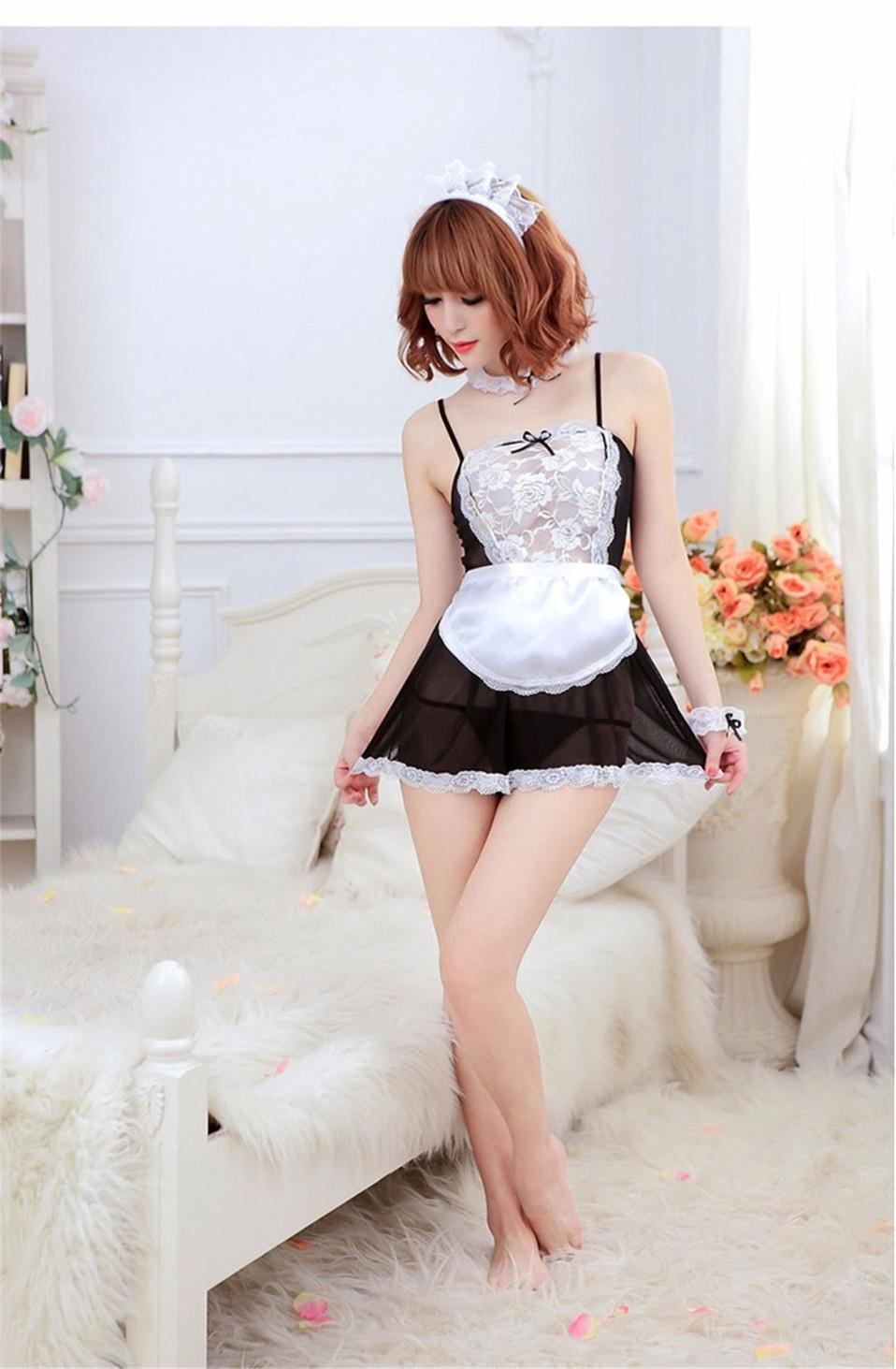Hot 2018 New Bow Lace Lingerie Donne French Maid Cosplay Sexy Lingerie Hot costumi trasparenti Erotic Lovely Maid Costumes