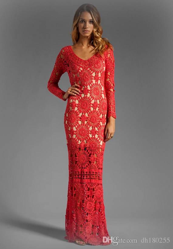 2f161dec9 Compre Vestido De Crochê Vermelho Mangas Compridas Abertas De Volta Vestidos  De Renda Ocasiões Declaração Vestido Maxi Nupcial Do Casamento Vestidos De  ...