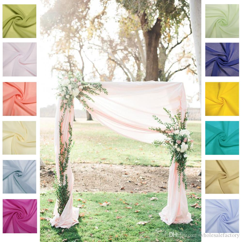 Chiffon wedding backdrop curtains out door Beach Wedding party decoration wedding stage background Flow Chiffon Decoration decor 55*235inch