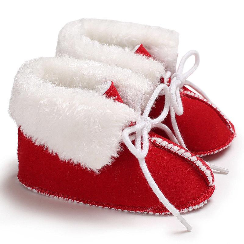 Christmas Newborn Infant Baby Girl Boy Red Shoes Warm Baby Fist ... 81954e784f09