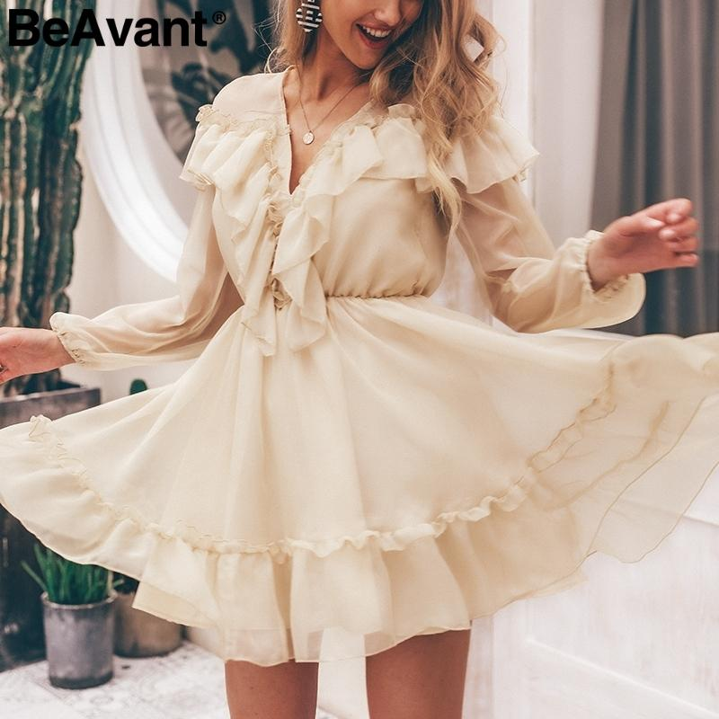 Beavant Elegant Ruffle Victoria Short Party Women V Neck Sexy Mesh Summer Dress Vintage Long Sleeve Pleated Ladies Dresses Q190529