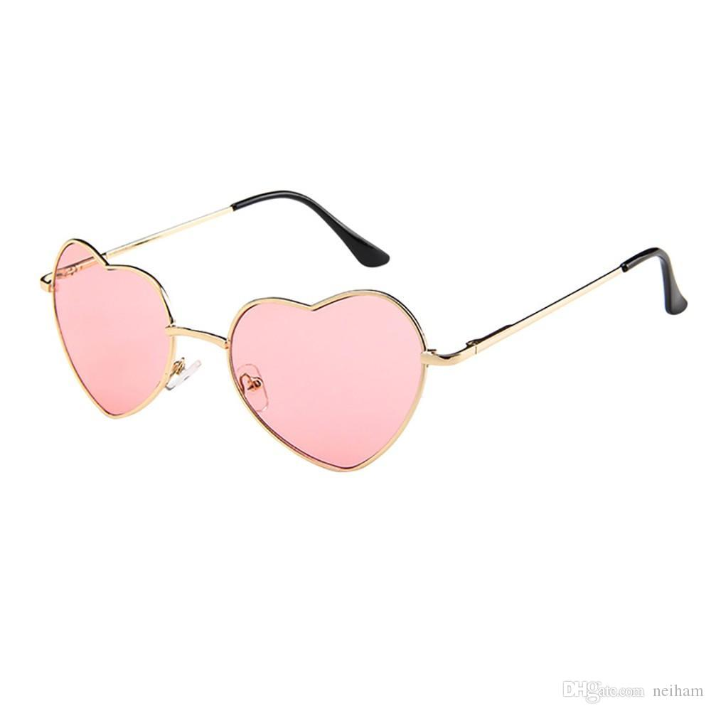e2ab0d289a587 Heart Shaped Sunglasses Women Metal Frame Reflective Lens Sun Protection  Sunglasses Men Mirror Fashion 2018 Sunglass Cheap Sunglasses From Neiham