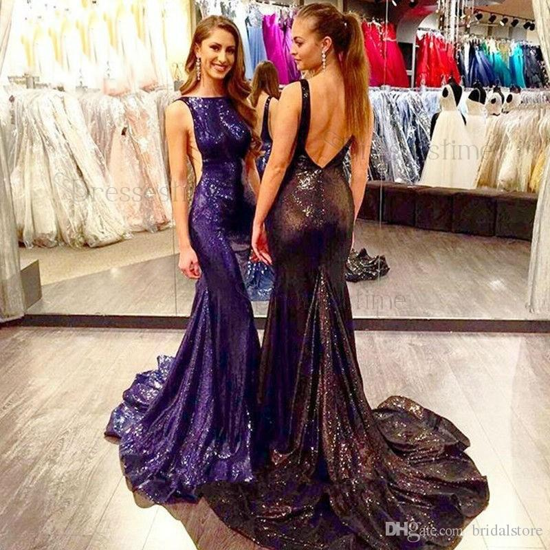 Modest Sexy Mermaid Prom Dresses Black Bateau Neck Bling Bling Sequins Sweep Train Backless Glamorous Formal Evening Gown Cheap Long Latest