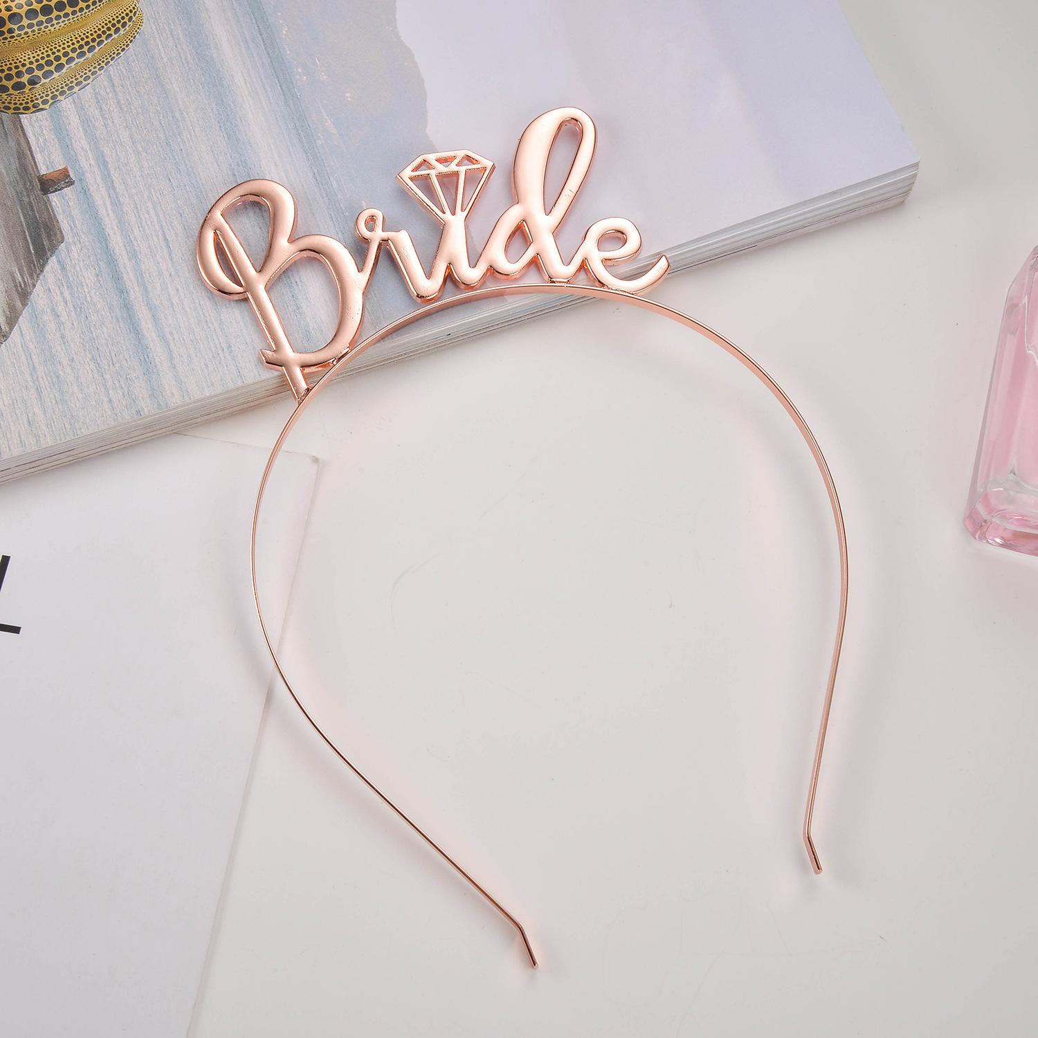 Rose Gold Silver Bride To Be Crown Tiara Headband for Wedding Bachelorette Party Bridal Shower Decoration Supplies Favor Gifts