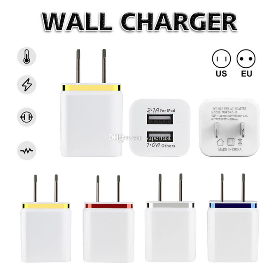 Dual Ports Wall Charger US EU Plug Travel Adapter 5V 2.1A Convenient Power Adaptor with Twice USB Ports For Mobile Phones