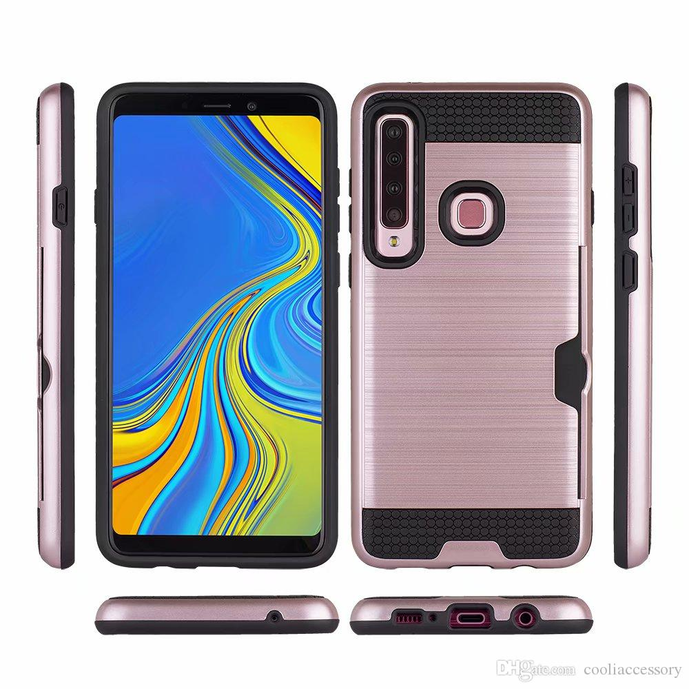 For Samsung Galaxy A9 2018 A7 A8 A6 S9 PLUS J7 S8 Brush Hybrid ID Card Slot  Hard PC TPU Case 2 in 1 Armor Football Cover Skin Luxury 10pcs