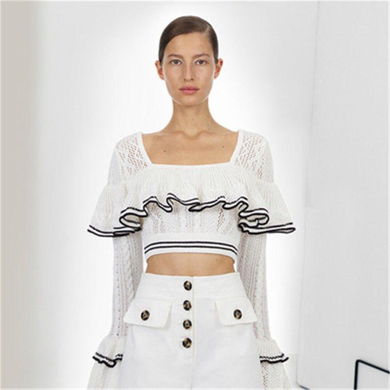 79c602ccf41af 2019 Spring Designer Self Portrait Tops 2019 Women Elegant White Knitted  Ruffles Long Sleeve Blouses Short Blusas Femininas From Paluo, $46.62    DHgate.Com
