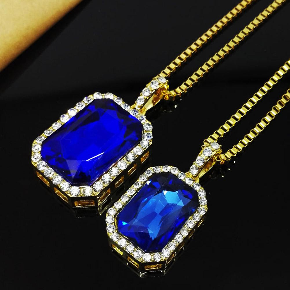 "2017 Mens Bling Faux Lab Pendant Necklace 24"" 30"" Box Chain Gold-color Rock Rap Hip Hop Jewelry 0418"