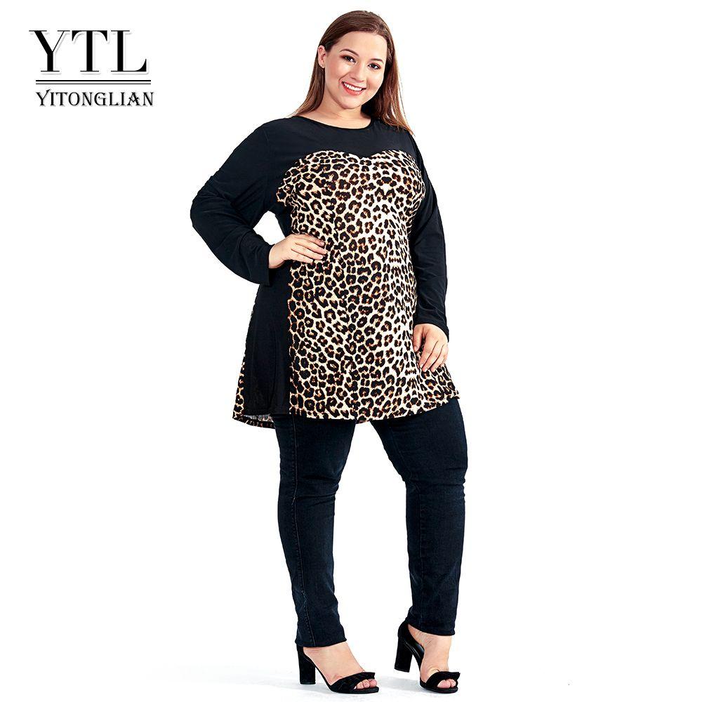 Women Plus Size Shift Dress Leopard Colorblock Big Size Woman Dress Spring  Summer Tunic Slim Party Dress 5xl 6xl 7xl H102 J190508