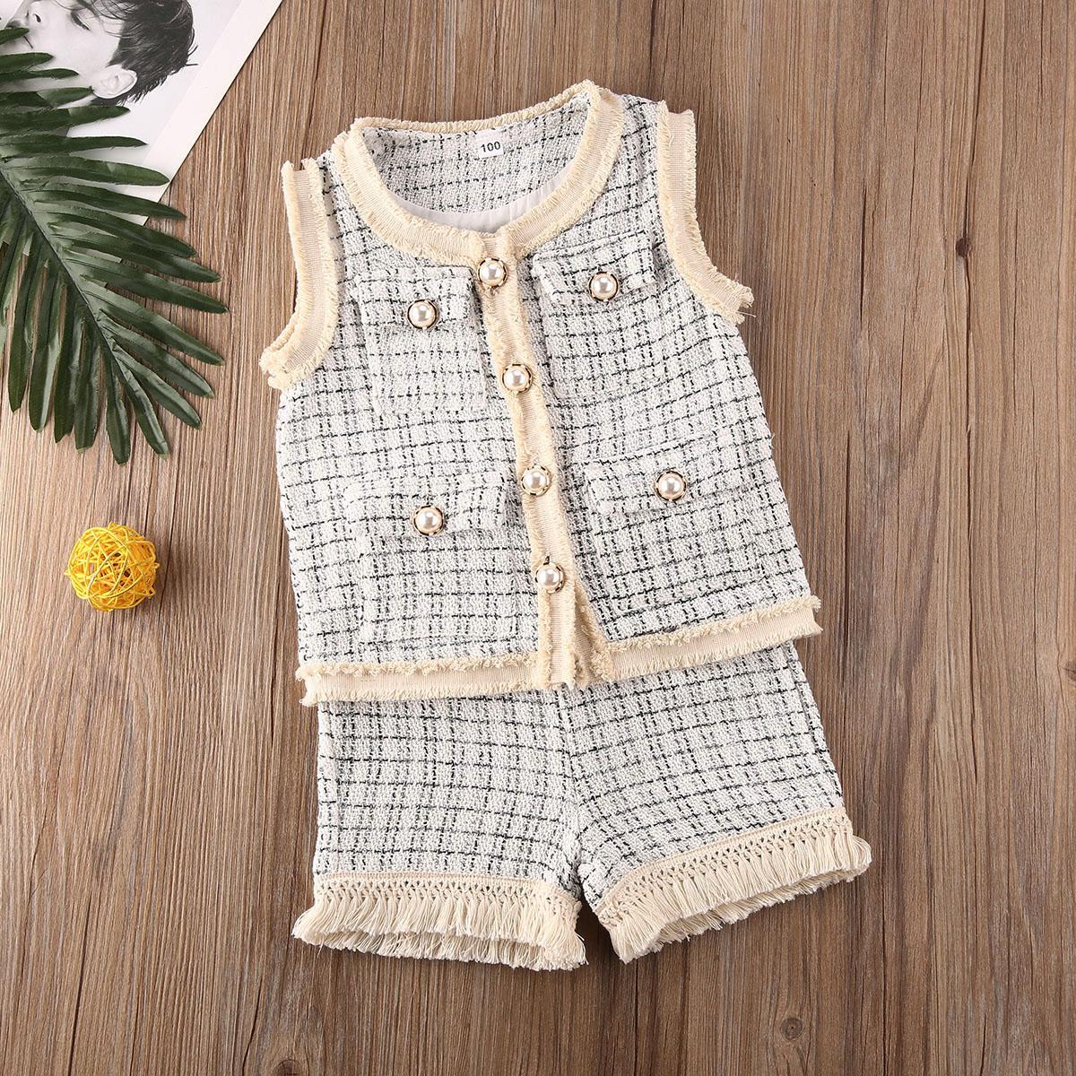 criança do bebé duas peças de roupa set terno set sem mangas colete calções casaco miúdos das crianças da menina