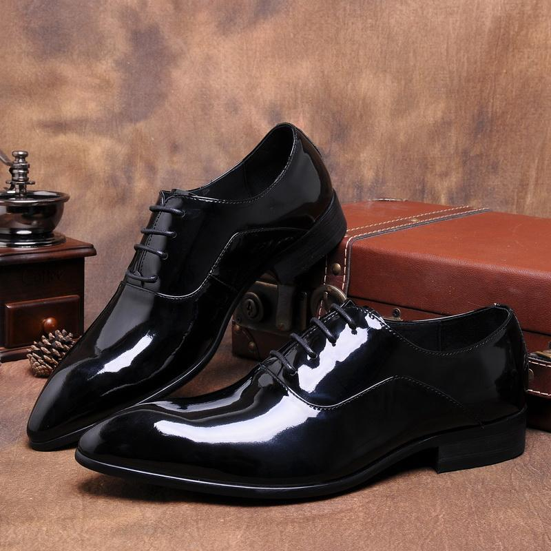 Patent Leather Men Wedding Dress Fashion Oxfords Shoes Lace Up Shiny Black  Italian Real Leather Formal Office Businessman Shoes Formal Shoes Cheap  Shoes For ... 6cac1b01e151