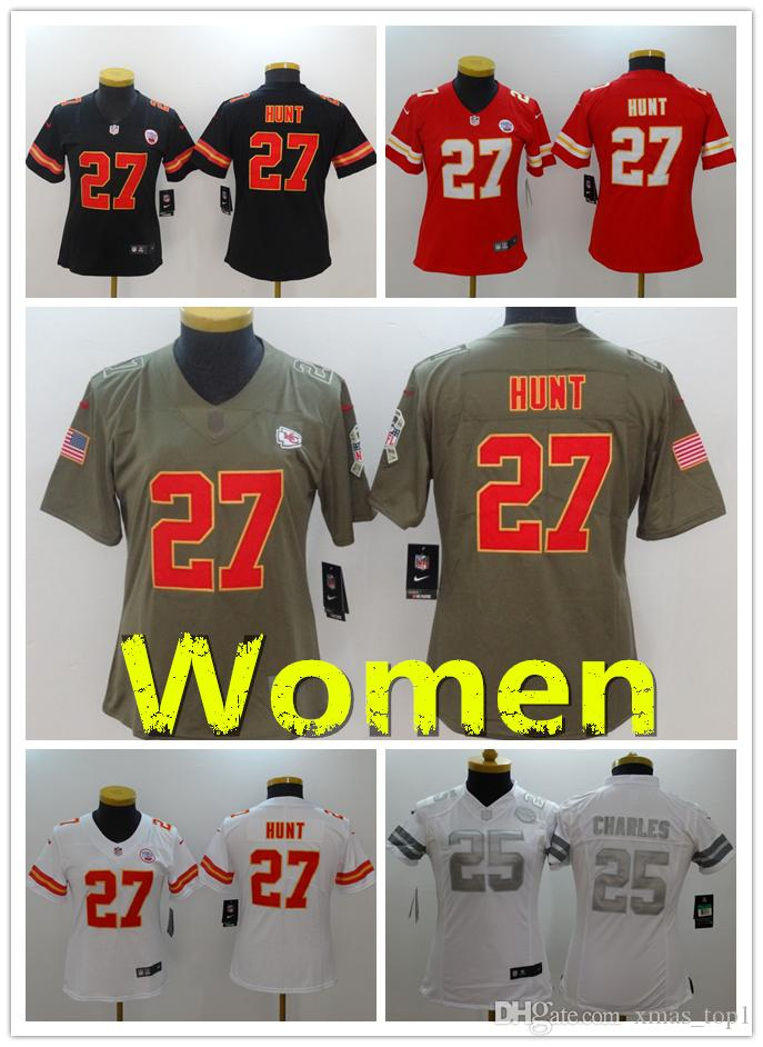 2018 2019 New Women 27 Kareem Hunt Kansas City Chiefs Football Jersey 100%  Stitched Embroidery 25 Jamaal Charles Color Rush Women Football Shirts From  ... 5918fd90e