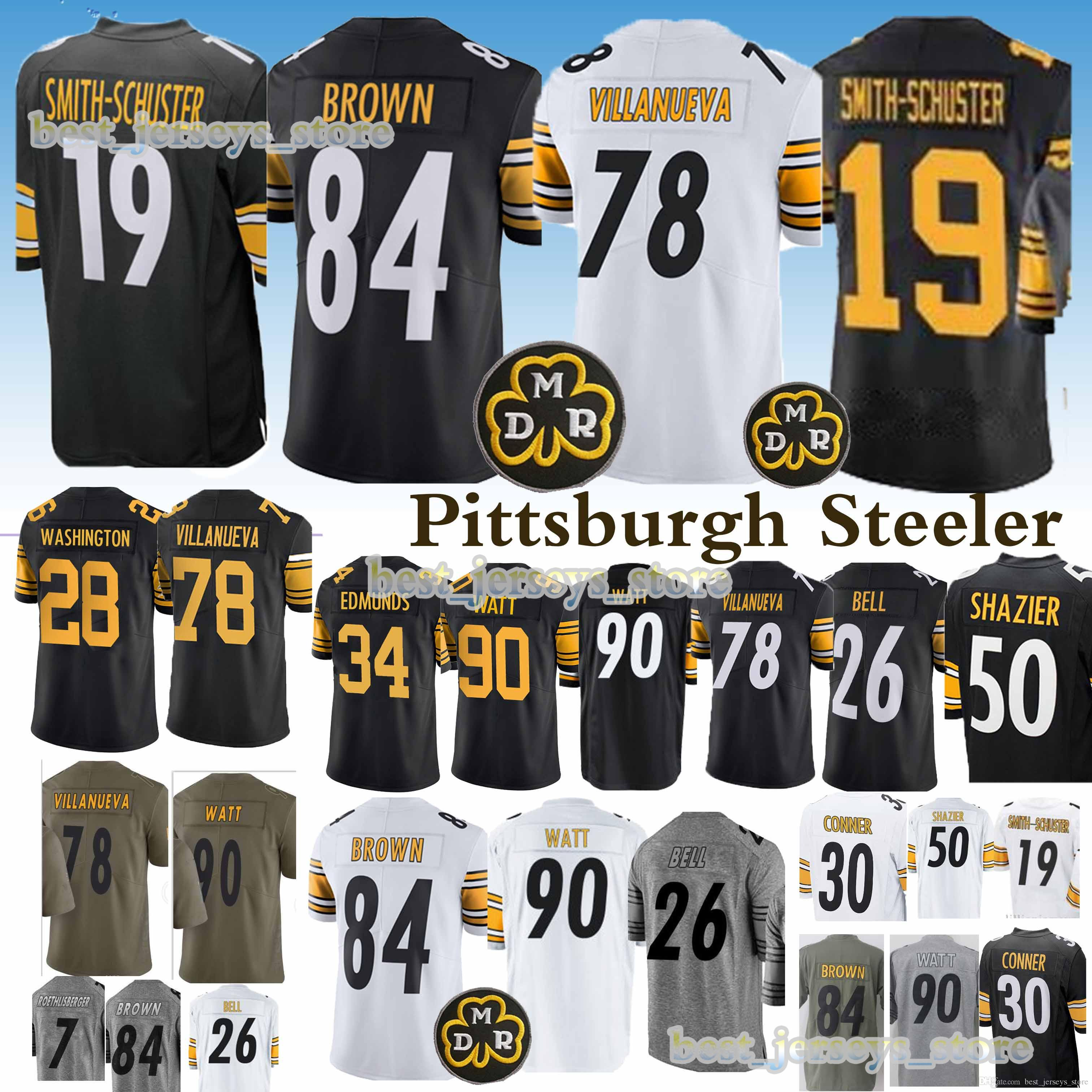 quality design e6e91 7ab7a 84 Antonio Brown 78 Alejandro Villanue Pittsburgh 33 Steeler jerseys 19  Juju Smith-Schuster 90 T.J. Watt jersey 2019 Design sweater