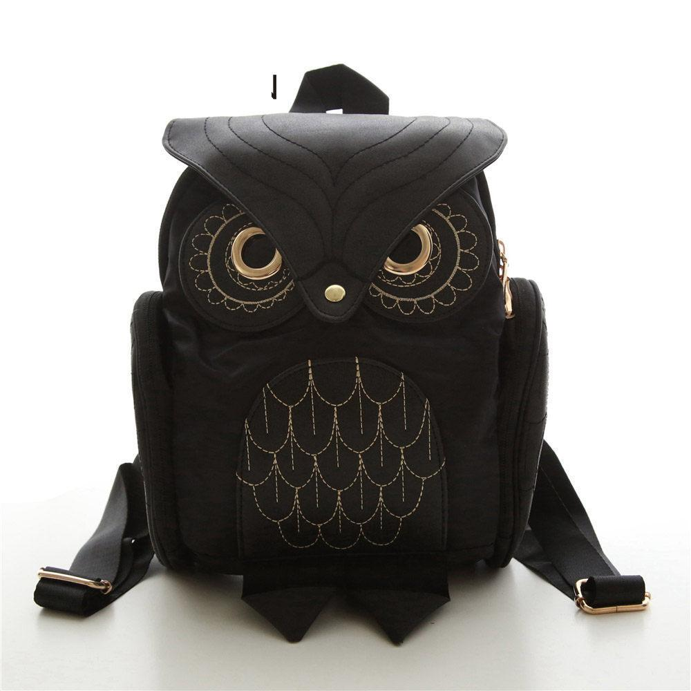 Women Backpack 2019 New Stylish Cool Black Pu Leather Owl Backpack Female Shoulder Bag School Bags good quality Mochila