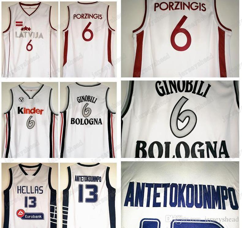 7e69265ef 2019 Greece Team Jerseys Antetokounmpo NCAA Dwyane Greece Italy Bologna  Kindergarten 13 6 White Porzingis Ginobili Latvian Kristaps Basketball From  Fansmore ...