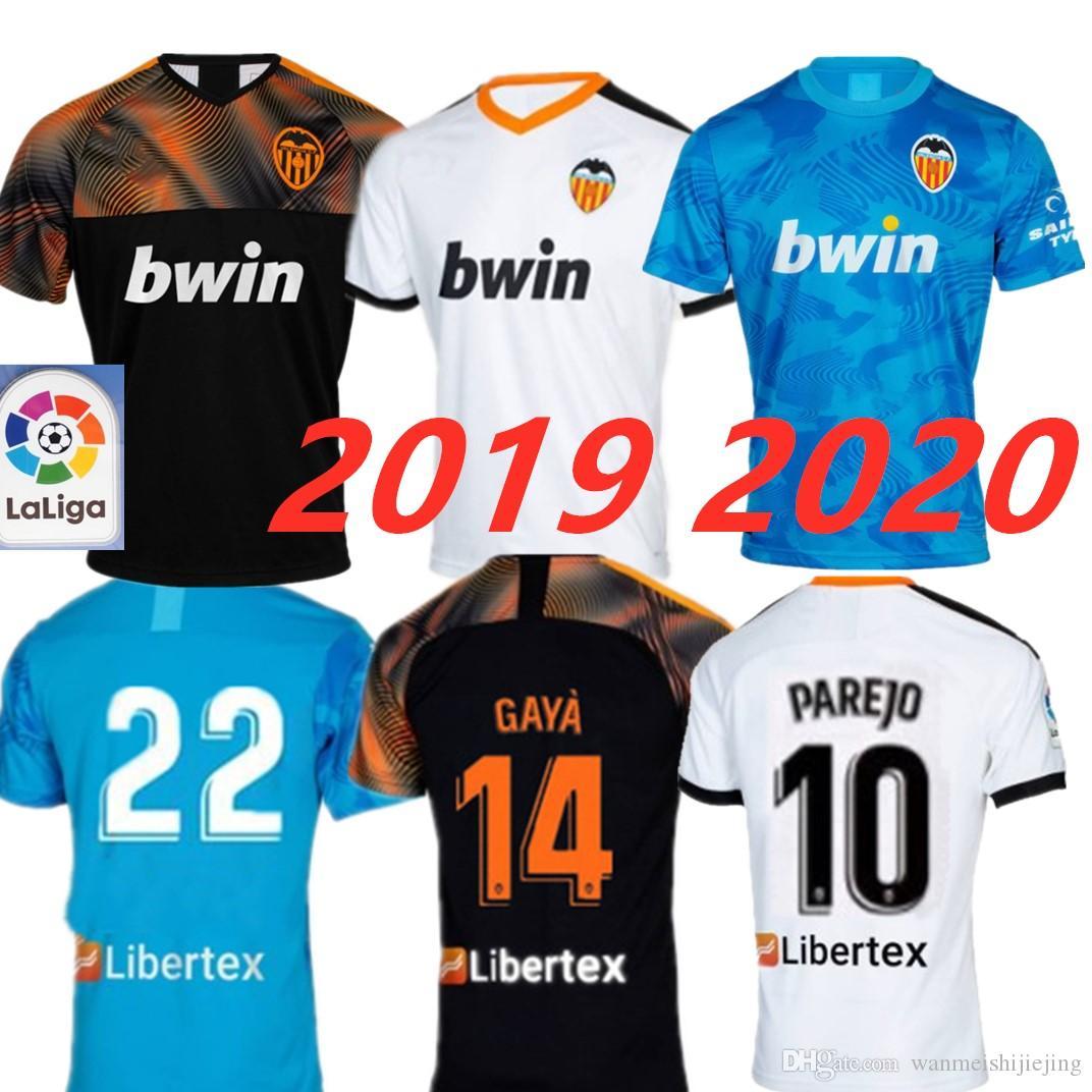 more photos 4340e 05fe4 19 20 Valencia CF Soccer Jerseys GAYA Valencia 2019 2020 PAREJO Football  KIT Shirt GAMEIRO RODRIGO Jersey S.MINA Home Away Third Blue