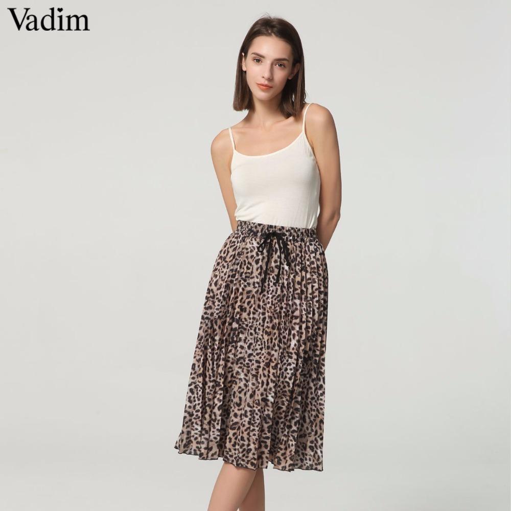 b61d64809 Vadim Mujeres Elegante Estampado de Leopardo Falda Plisada Serpiente Faldas  Mujer Cordón Lazo Elástico de la cintura Casual Faldas a media pierna ...
