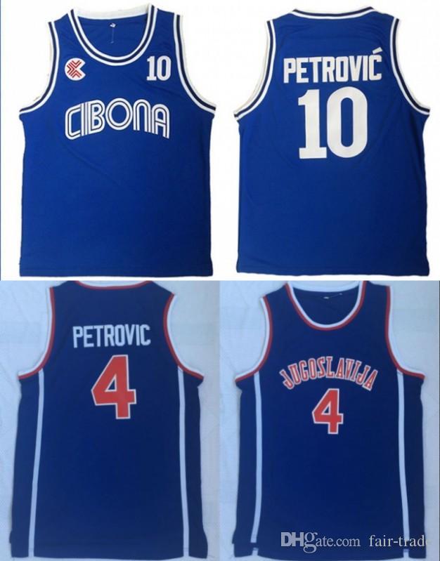 edfbcab82 Mens Vintage Croatia  10 Cibona Drazen Petrovic Basketball Jerseys ...