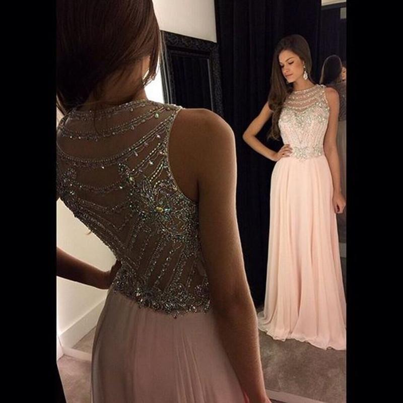 1487de419114d 2019 New Chiffon Prom Dresses A Line Light Pink Satin Jewel Sleeveless Sweep  Train Crystal Beaded Long Evening Gowns Custom Teen Prom Dress Terani Prom  ...