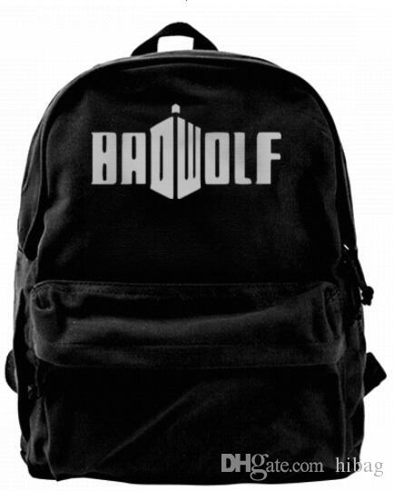 Bad Doctor DW Wolf Police Box Fashion Canvas designer backpack For Men & Women Teens College Travel Daypack Leisure bag Black