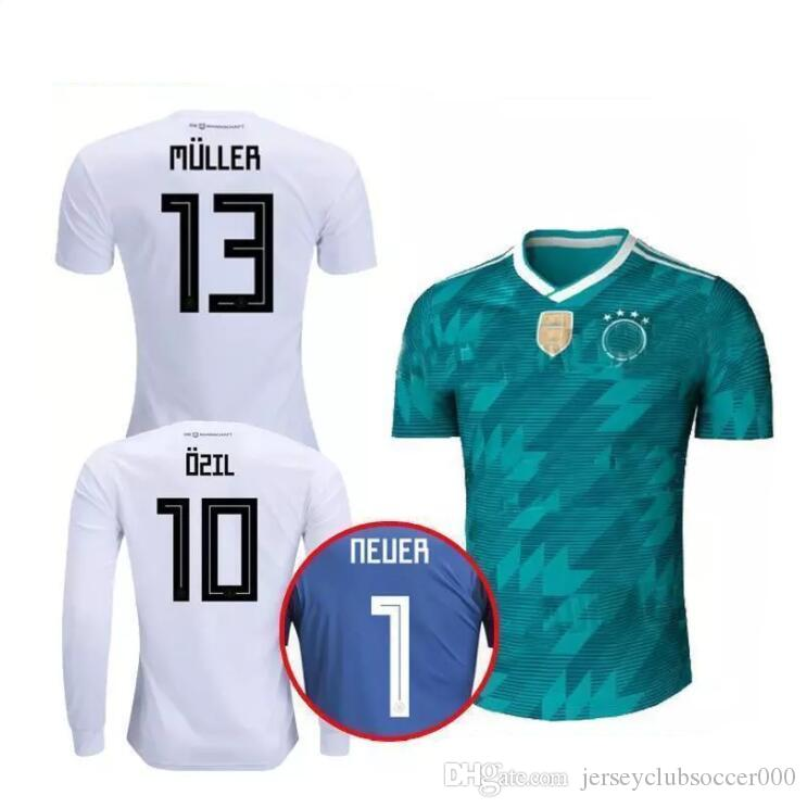 2019 2018 World Cup Germany Long Sleeve Home White Soccer Jersey 13 MULLER  Soccer Shirt  10 OZIL  8 KROOS Germany Football Uniforms Sales From ... 2ab6fcee8
