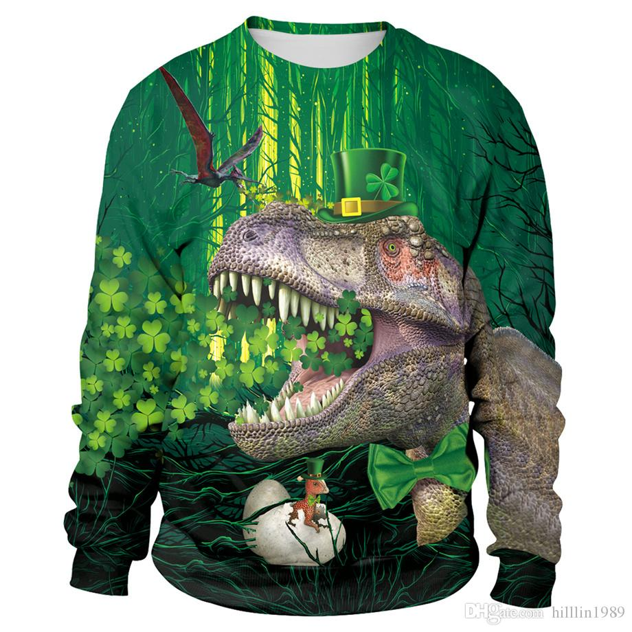 bf71830601d043 2019 3D Print Dinosaur Winter Outerwear St. Patrick S Day Sweatshirt Long  Sleeve Novelty Green Leprechaun Hat Streetwear From Hilllin1989