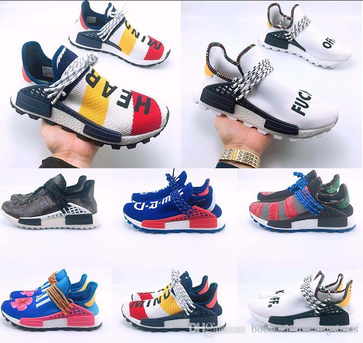 95323f3c5f029 2019 PW Human Race Hu Trail X Men Casual Shoes Pharrell Williams Nerd Black  White Cream Tie Dye Sun Glow Womens Trainers Sports Sneakers Navy Shoes  Blue ...