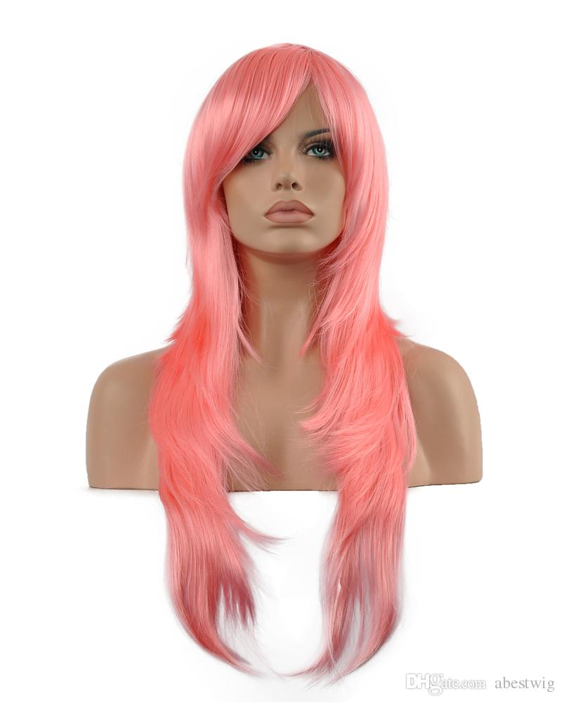 f1f82f786 Charming Women Long Light Pink Oblique Bangs Synthetic Curly Kanekalon Heat  Resistant Cosplay Party Hair Full Wig Wigs Lace Wig Hair Extra Long Wigs  From ...