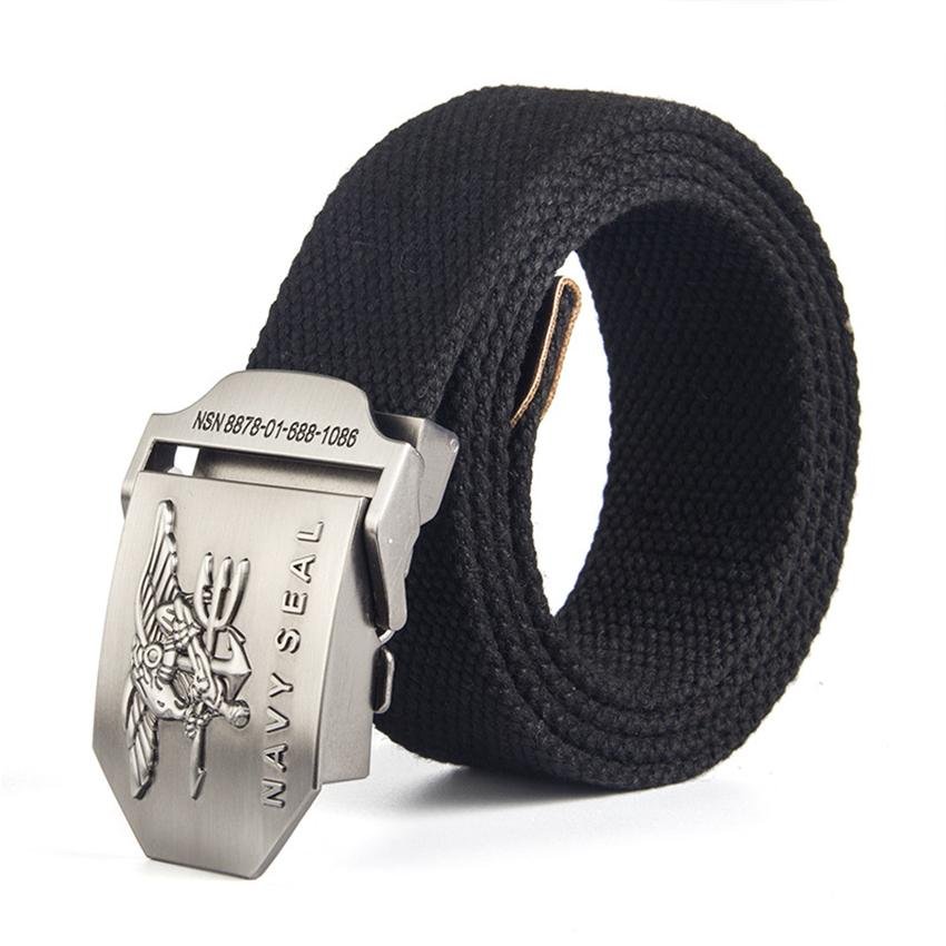 12 Type Canvas Mens Belt Navy Seal Metal Smooth Buckle Striped Belt Male Eagle Alloy Army Long Adjustable Black Waist