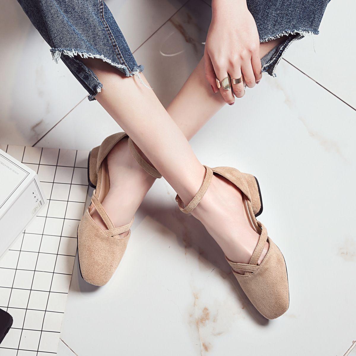 da73c3a37ec Dress Shoes 2019 Spring Summer Women Ankle Strap Low Heels Faux Suede Woman  Dress Cross-tied Pumps Zapatos Mujeriok9