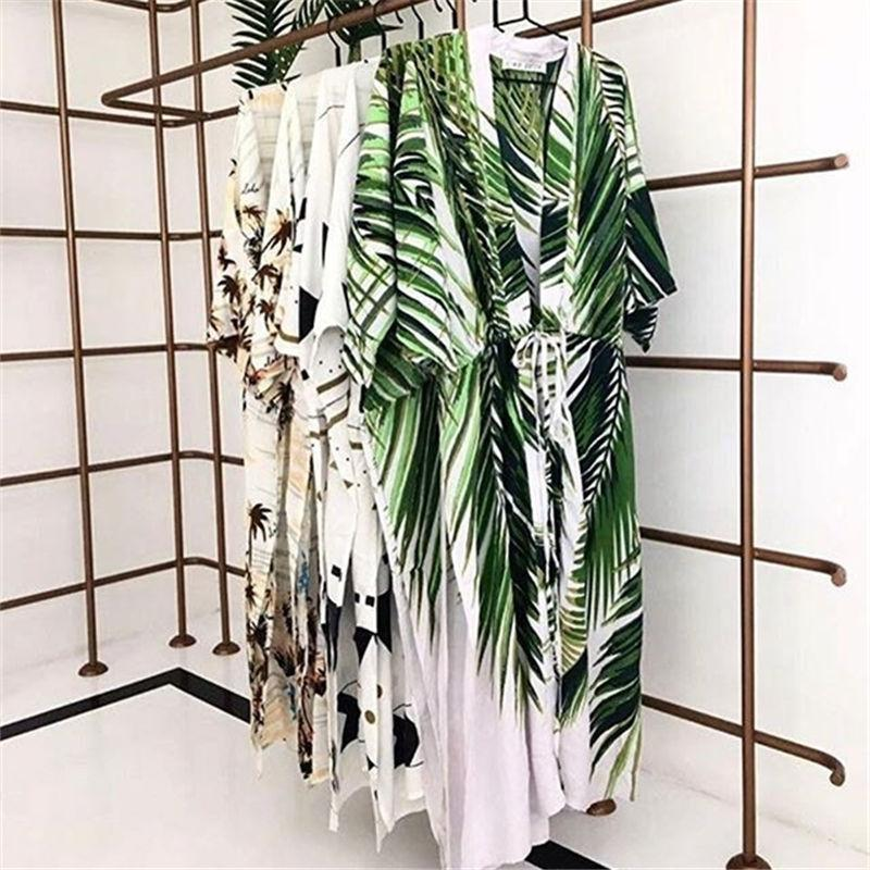 Summer Women Beach Wear Coprispalle Plus Size Tropical Stampa Side Split Kimono Plage Robe Wrap Dress Sex Tunica in cotone