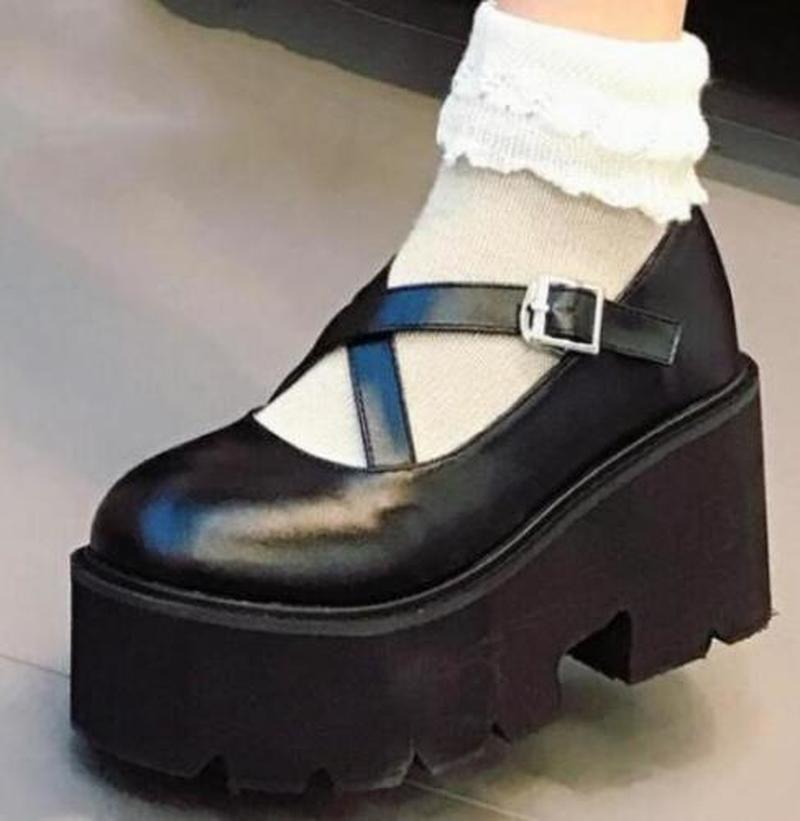6d336ae157 Retro Womens Round Toe Wedge Heel Platform Creepers Buckle Lolita ...